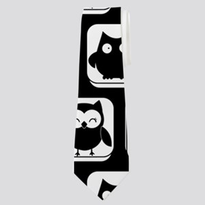Black and White Owl Illustration Pattern Neck Tie