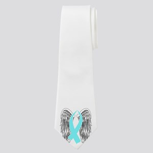 Winged Awareness Ribbon (Light Blue) Neck Tie