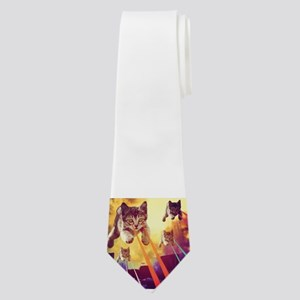 Laser Eyes Space Cats Flying T-Shirt Neck Tie