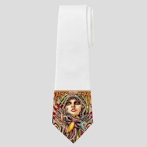 Mardi Gras Mask and Beautiful Woman Neck Tie