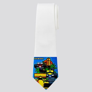 Grand Prix Auto Racing Print Neck Tie