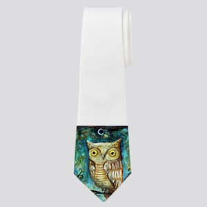 Owl on Blue-Green Neck Tie
