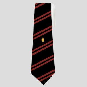 Psi Upsilon Crest with Black and Red Stri Neck Tie