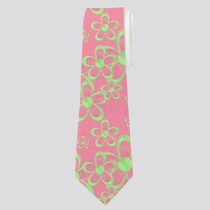 Pink and Green Flowers Neck Tie