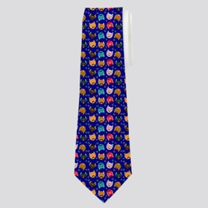 Cute Cat Mustache and Lips, Royal Blue Neck Tie
