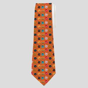 Cute Cat Mustache and Lips, Orange Neck Tie