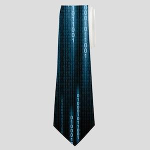Blue Binary Rain Neck Tie