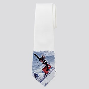 Skiing Down the Mountain in Red Neck Tie