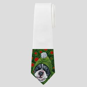 Christmas Elf Pit Bull Dog Art Neck Tie