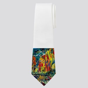 Grand Prix Auto Race Painting Print Neck Tie