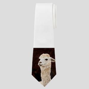 White Llama Neck Tie