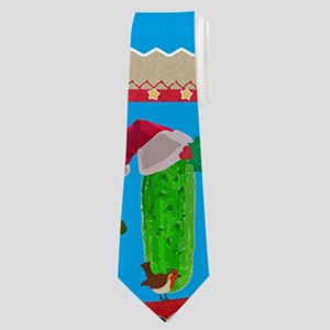 ugly christmas pickle Neck Tie