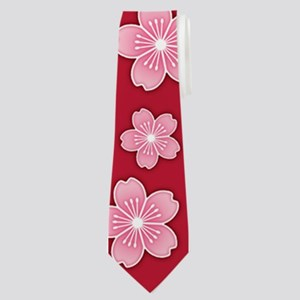 Cherry Blossoms Red Pattern Neck Tie