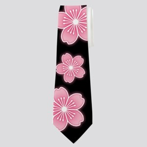 Cherry Blossoms Black Pattern Neck Tie