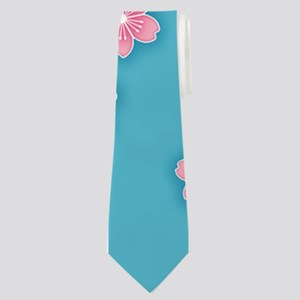 Cherry Blossoms Blue Pattern Neck Tie