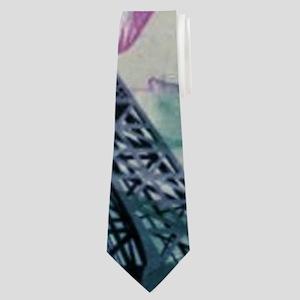 floral paris eiffel tower art Neck Tie