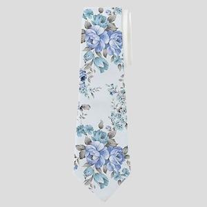 Blue Rosy Flower Pattern Neck Tie