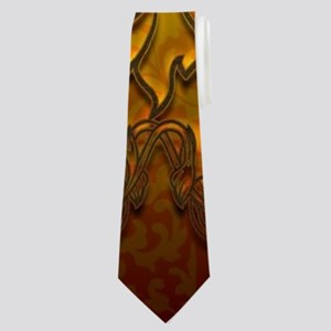 Buddha silhouette with floral elements Neck Tie