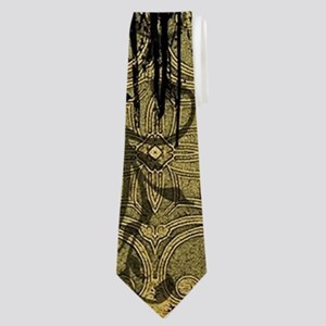 Skull and crow with floral elements Neck Tie