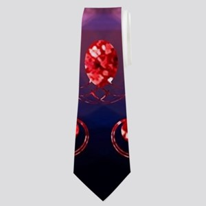 Music, key notes with floral elements Neck Tie