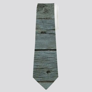 ocean blue wood anchor Neck Tie