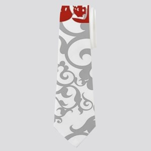 gray damask red lobster Neck Tie