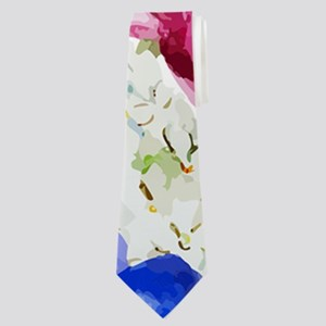 Chic Watercolor Floral Pattern Neck Tie