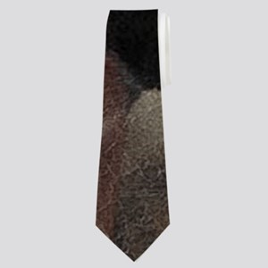 modern horse brown leather texture Neck Tie