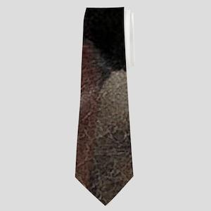 modern horse brown leather texture Neck Tie
