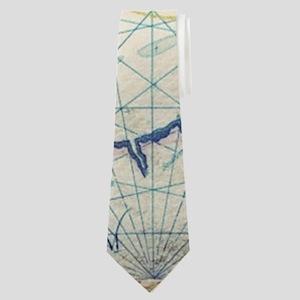seashells nautical map vintage anchor Neck Tie