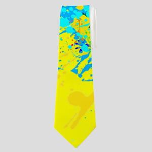 Splash Words of Good Yellow Peace Neck Tie