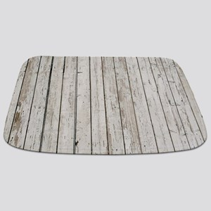shabby chic white barn wood Bathmat