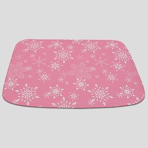 Snowflakes Pink Bathmat