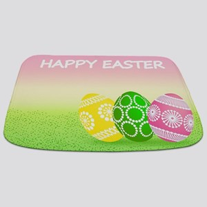 Happy Easter Pretty Eggs on Grass Bathmat