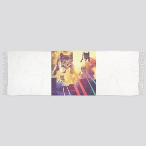 Laser Eyes Space Cats Flying T-Shirt Scarf