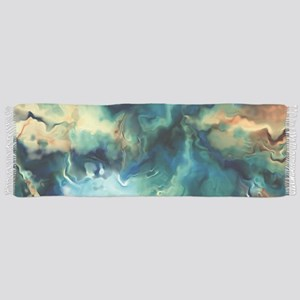 Abstract Blue Oil Painting Fractal Tassel Scarf