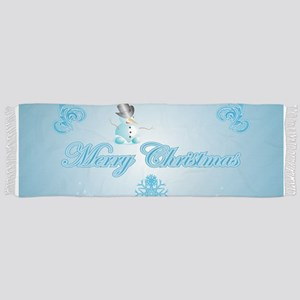Cute snowman with soft blue background Scarf