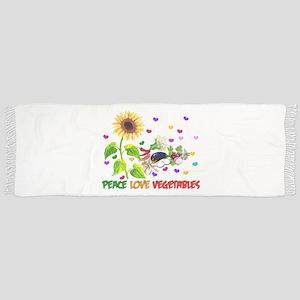 Peace Love Vegetables Tassel Scarf