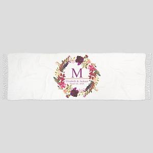 Boho Wreath Wedding Monogram Tassel Scarf