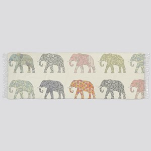 Elephant Colorful Repeating Pattern D Tassel Scarf