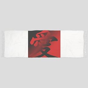 Japanese Kanji - Love - Script Style Tassel Scarf