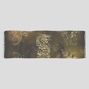 Wonderful golden chinese dragon Tassel Scarf