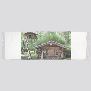 Old log cabin in woods, Alaska, USA Tassel Scarf