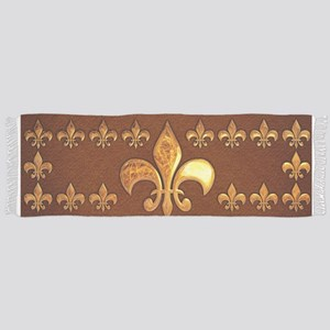 Old Leather with gold Fleur-de-Lys Scarf