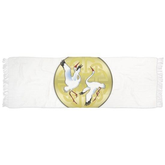 Asian Dancing Cranes on Gold Medallion
