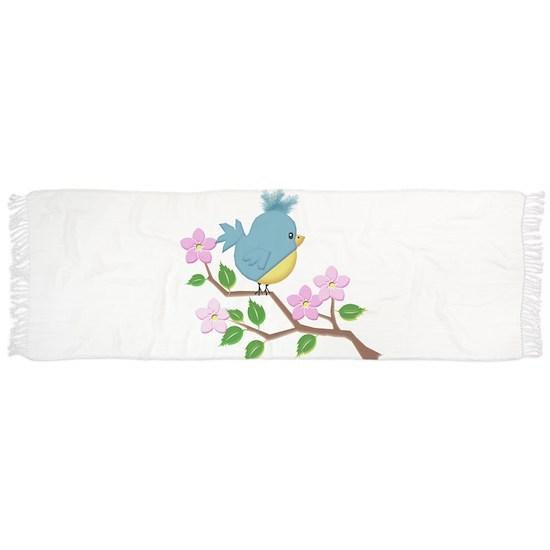 Bird on Tree Limb with Spring Flowers