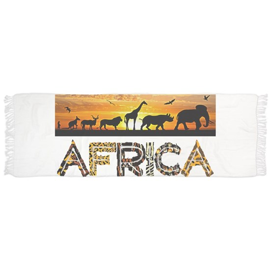 AFRICA TEXT and Animals Against Sunset Backdrop