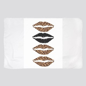 Leopard Print and Black Lips Sheer Scarf