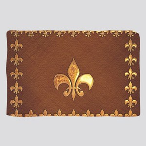 Old Leather with gold Fleur-de-Lys Sheer Scarf