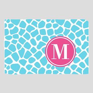 Aqua Pink Animal Print Monogram Scarf